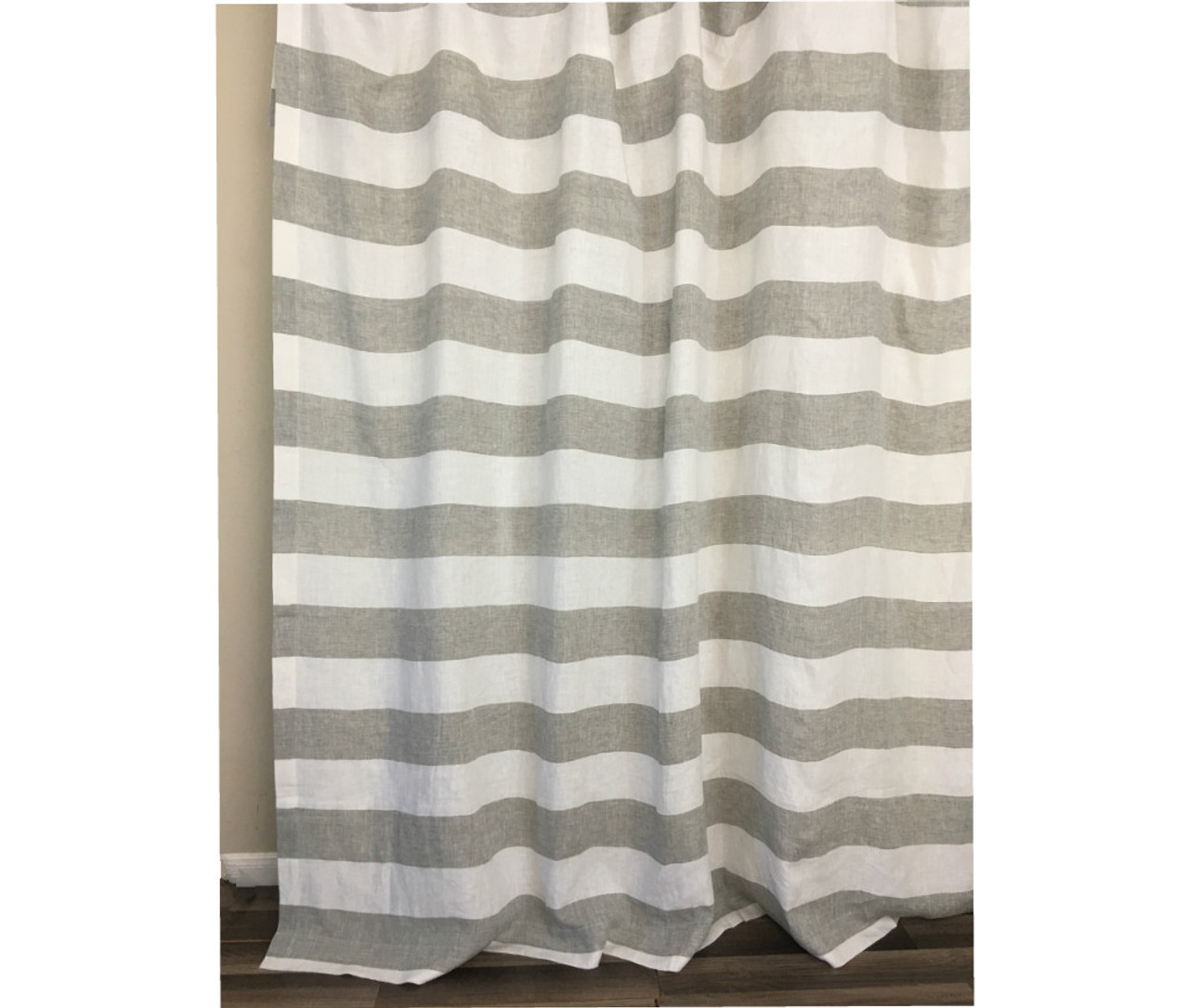 Grey And White Cabana Striped Linen Shower Curtain