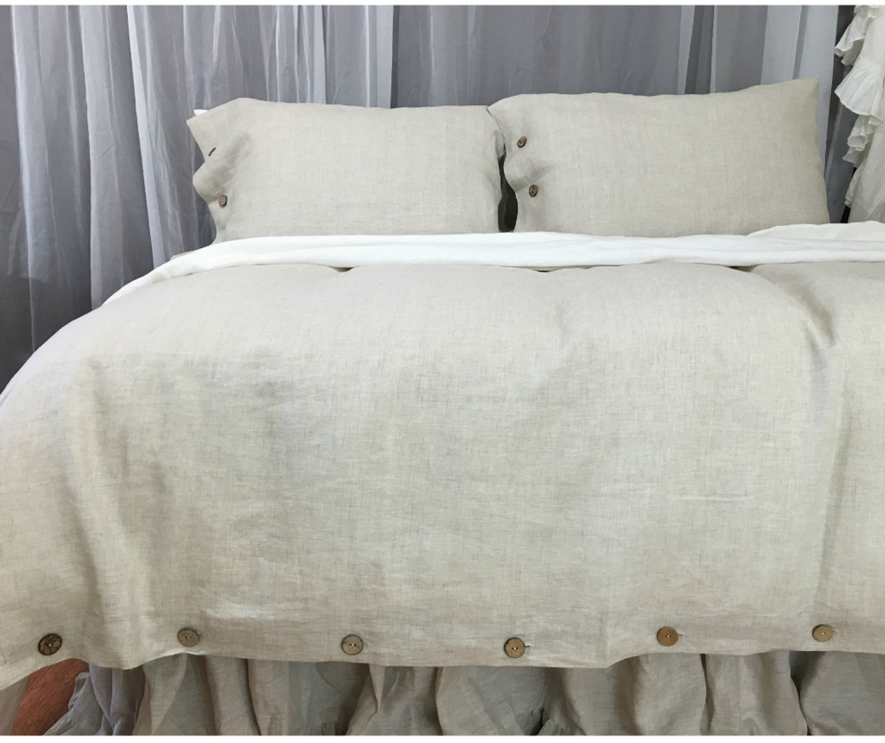 Natural Linen Duvet Cover With Wooden Buttons Custom Size Queen King Calif King Twin