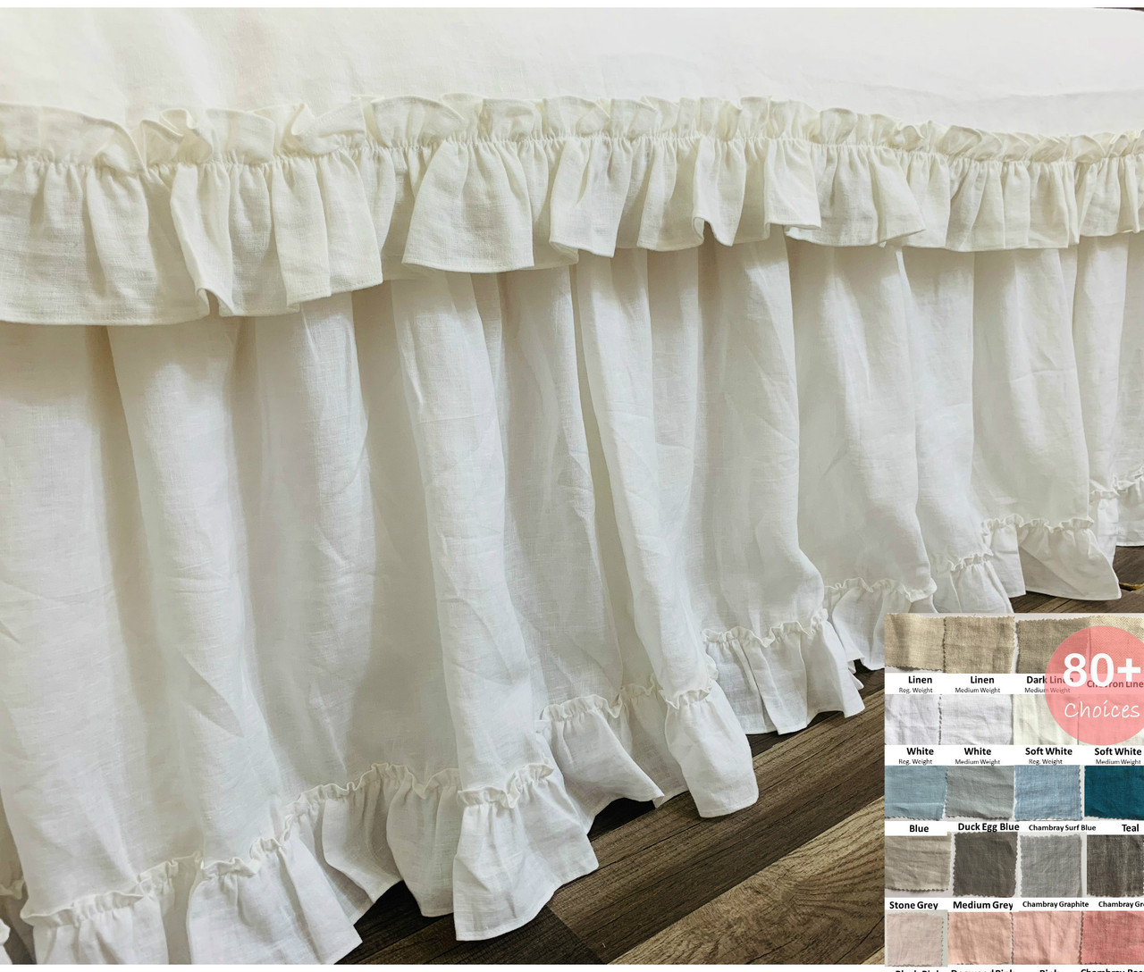 Picture of: Country Ruffle Bedskirt In Natural Linen 15 24 Drop Natural Linen White Grey Cream Pink Blue Stripe Chevron 40 Colors Custom Size Queen King Calif King Twin