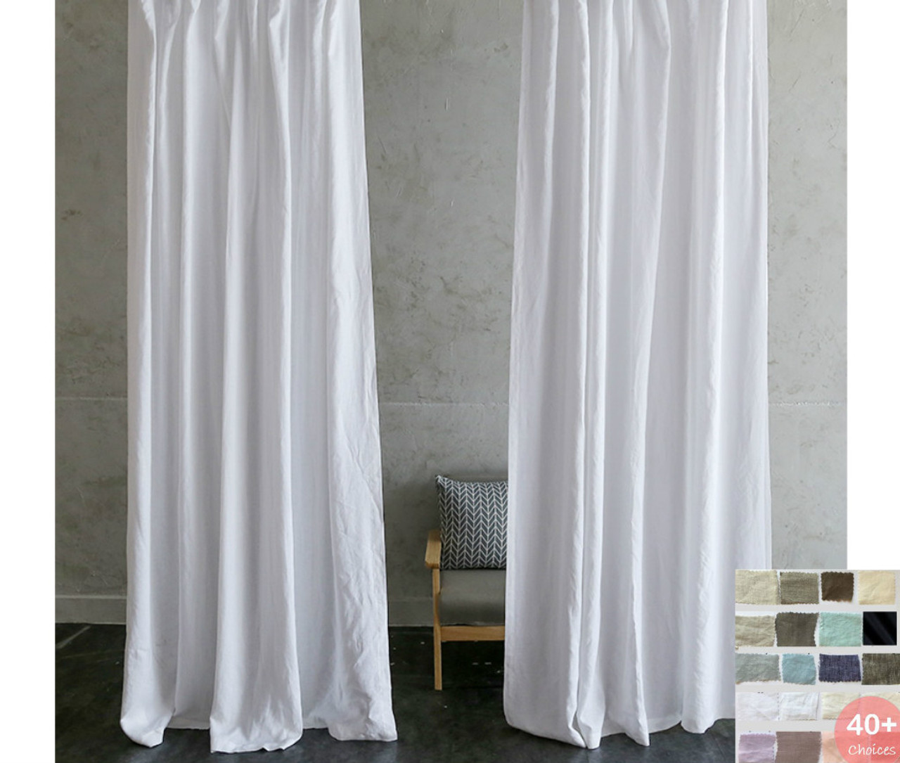 Custom Curtains, Linen Curtain Panels, - White, Grey, Cream, Pink