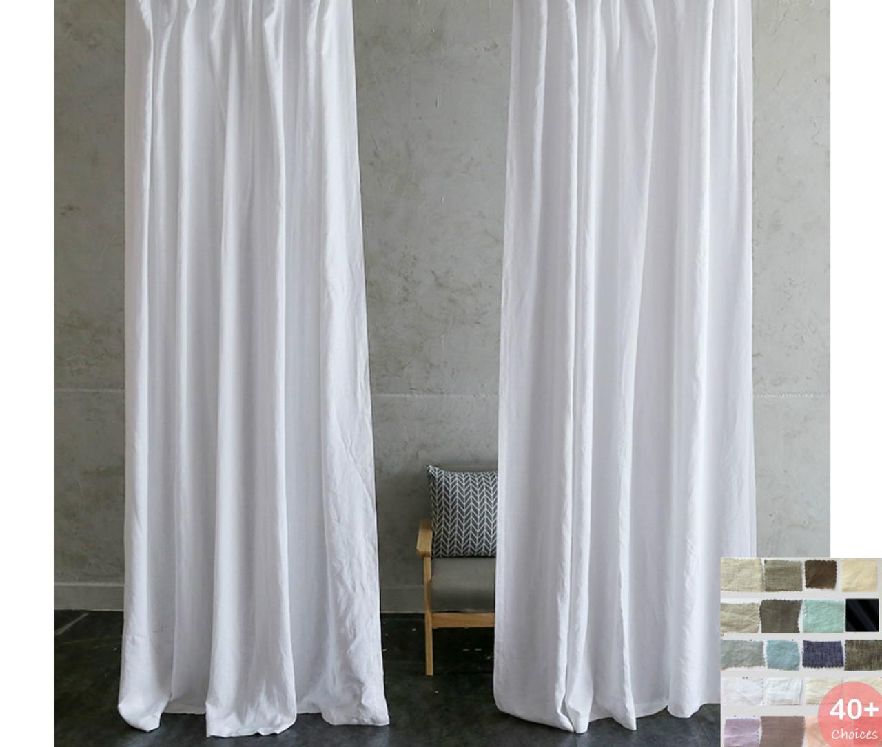 Custom Curtains, Linen Curtain Panels, - White, Grey, Cream, Pink