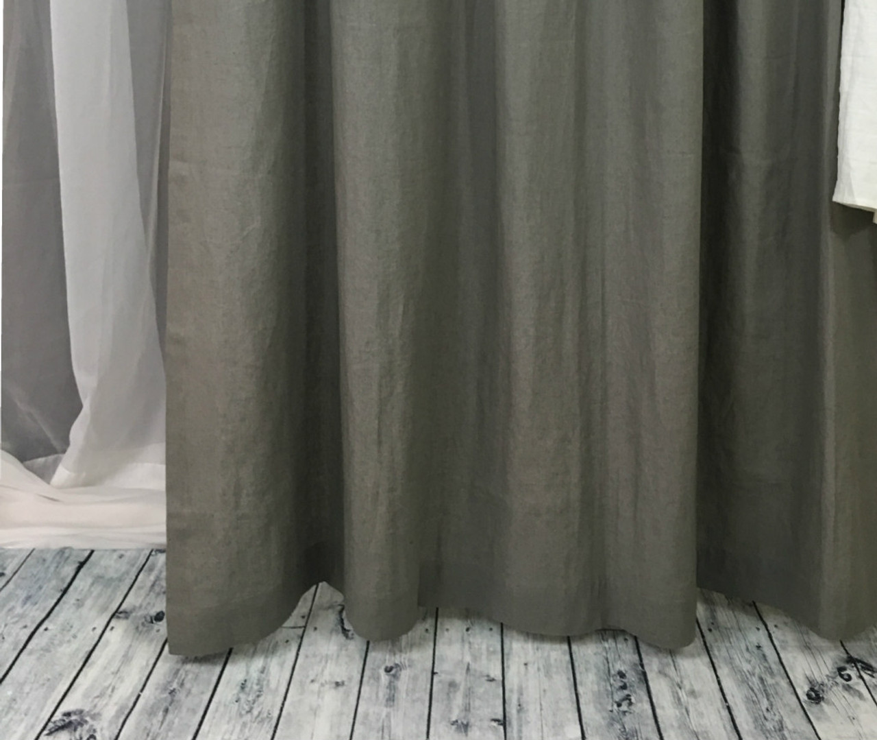Gray Linen Shower Curtains