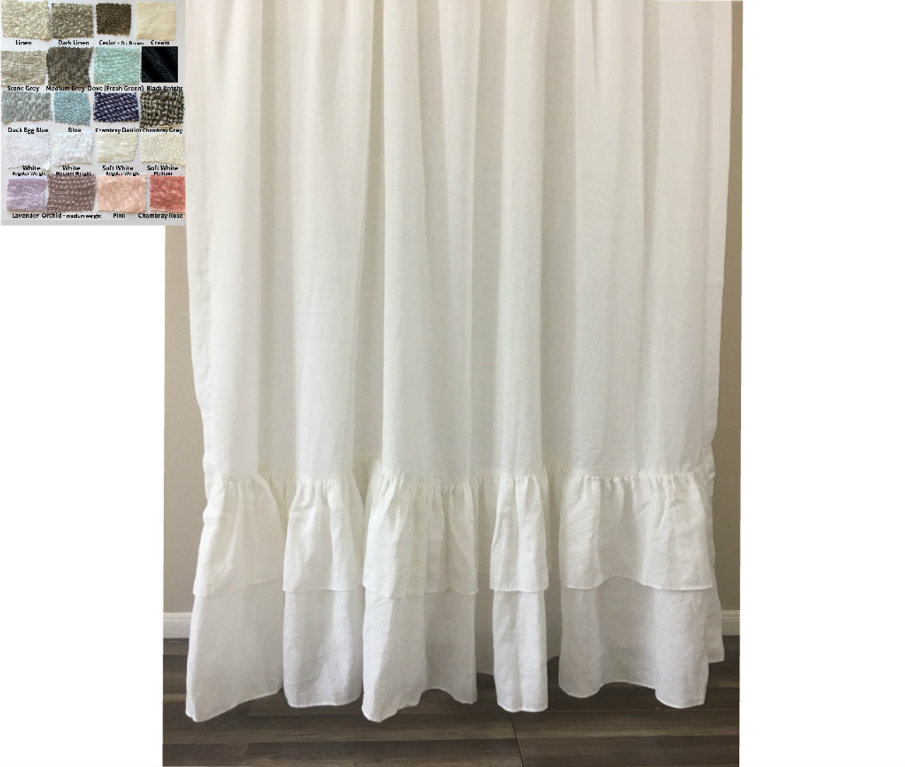 Linen Shower Curtain With Two Layers Of Mermaid Long Ruffles Pick Color