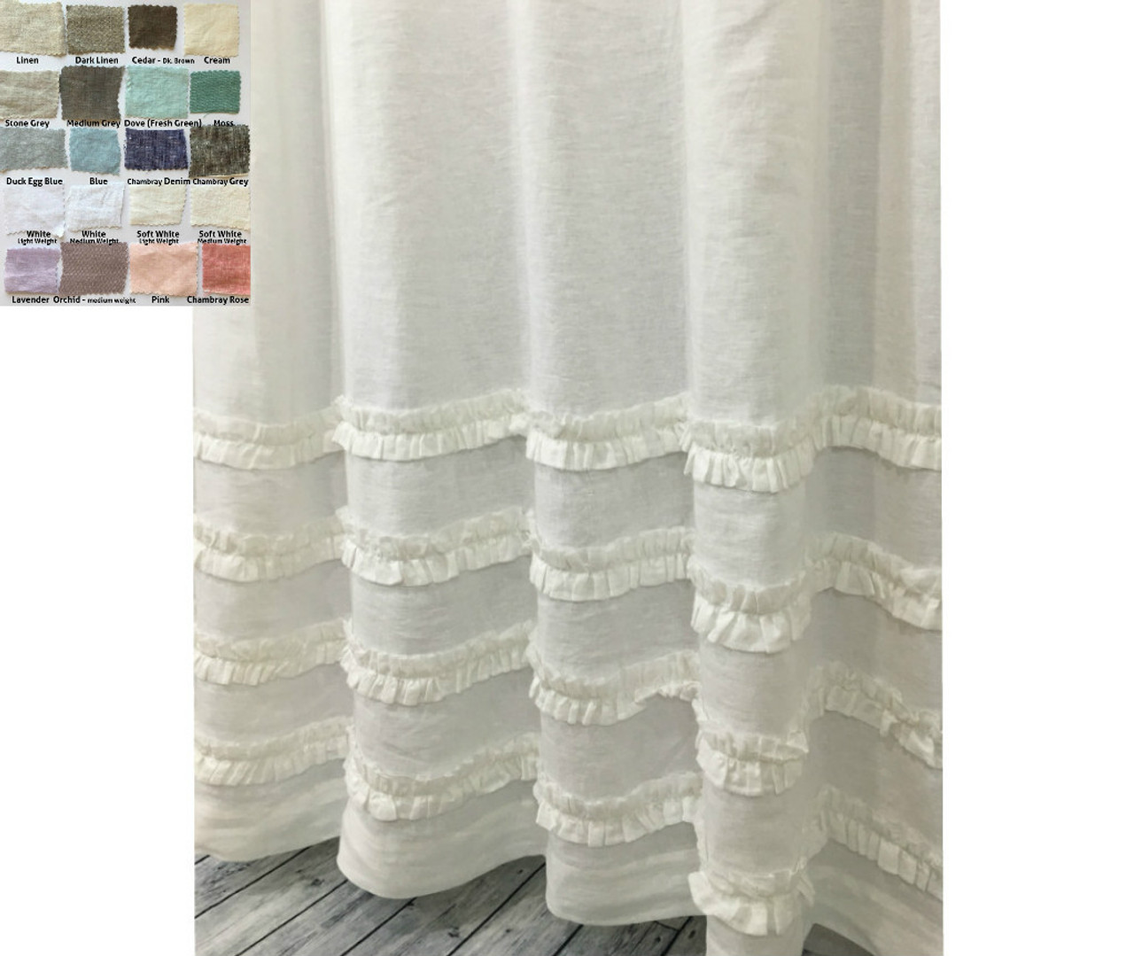 Linen Shower Curtain With 4 Rows Of Ruffles