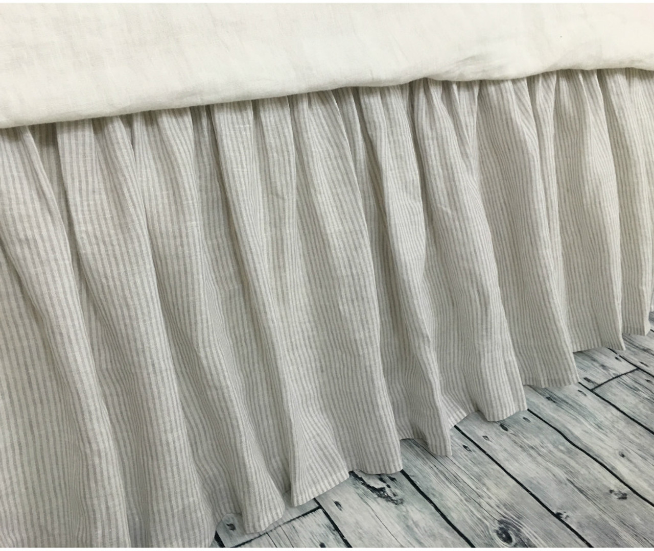 Stone Gray Ticking Stripe Bed Skirt Ticking Stripe Dust Ruffle Country Bed Skirts 15 24 Drop 100 Natural Linen Handcrafted By Superior Custom Linens