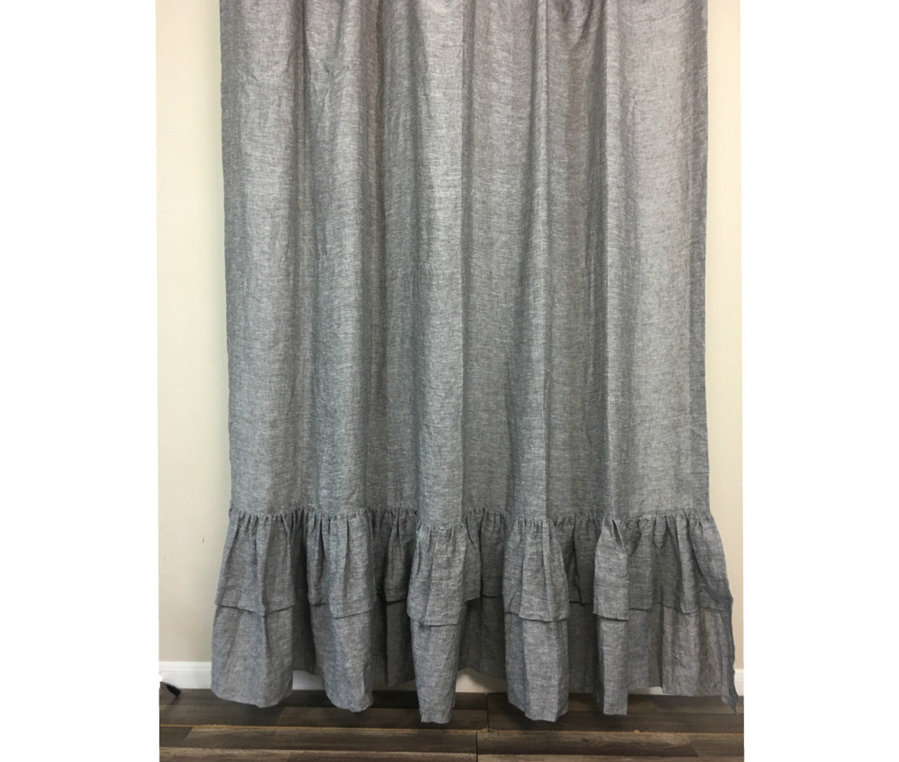 Chambray Grey Linen Shower Curtain With Mermaid Long Ruffles