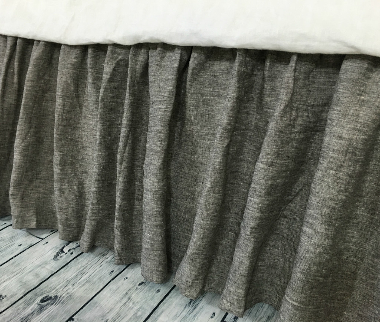 Chambray Grey Bed Skirt Gathered Bed Skirt Available In Twin Full Queen King Calif King 13 24 Drop Or Custom Length