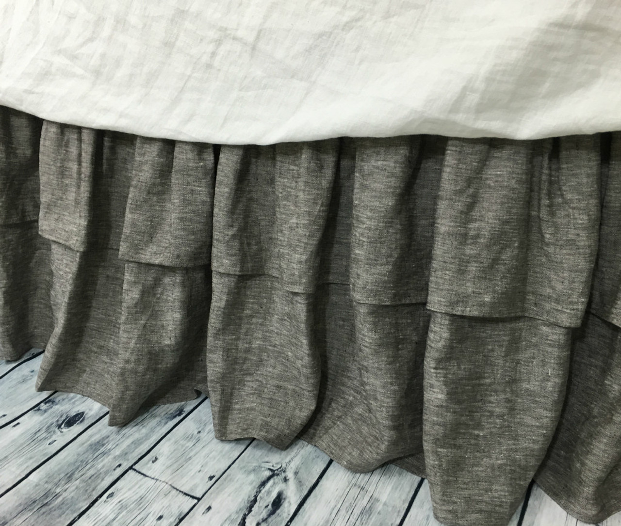 Chambray Grey Bed Skirt With Double Layer Ruffles Available In Twin Full Queen King Calif King 13 24 Drop Or Custom Length