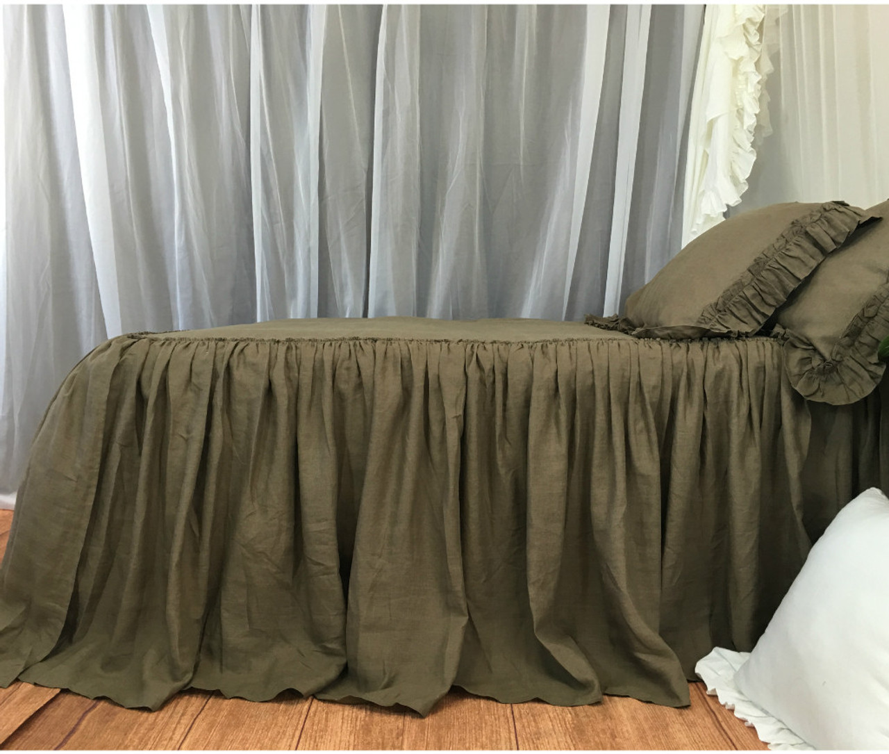 Cedar Dark Brown Linen Bedspread Available In Twin Full Queen King Calif King 30 Inches Drop Or Custom Length