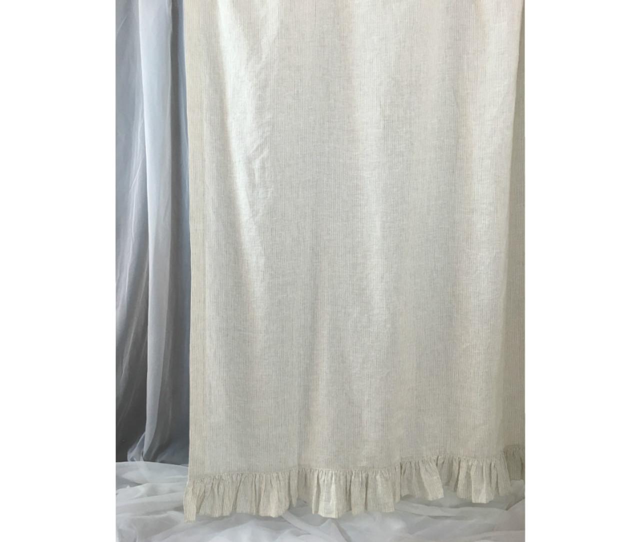 Linen Ticking Striped Shower Curtain With Ruffle Hem