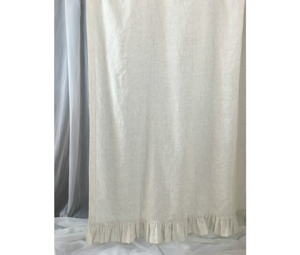 Linen Ticking Striped Shower Curtain With Self Ruffles