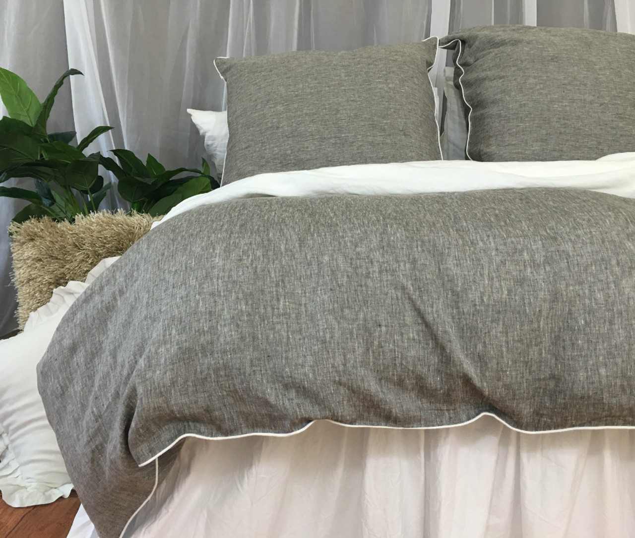 Chambray Grey Linen Duvet Cover With Soft White Piping Available In Twin Full Queen King Calif