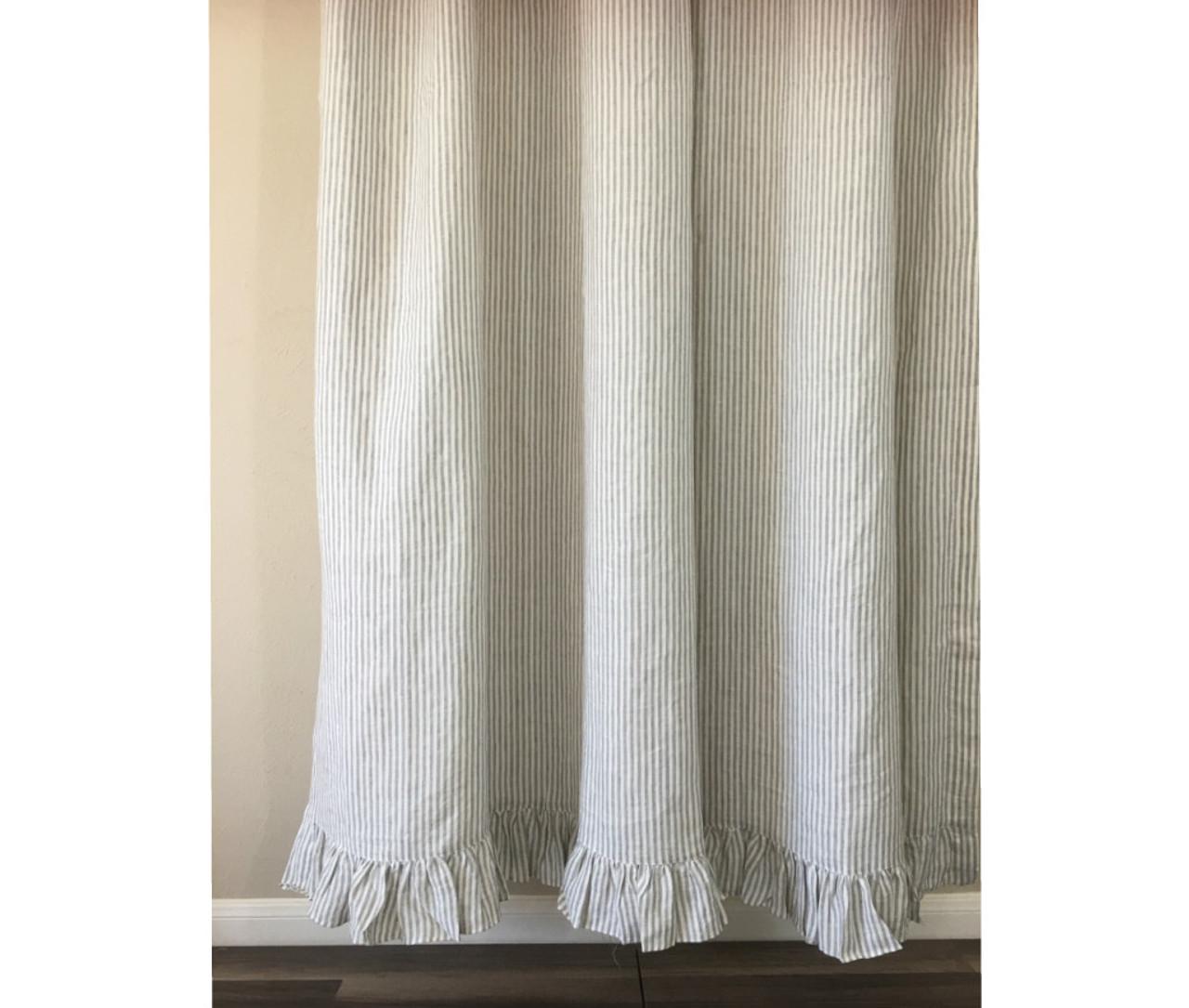 Grey Stripe Linen Shower Curtain Features Ruffle Hem Mildew Free 72x72 72x85 72x94 Custom Curtains Bathroom Curtain Bathroom Decor
