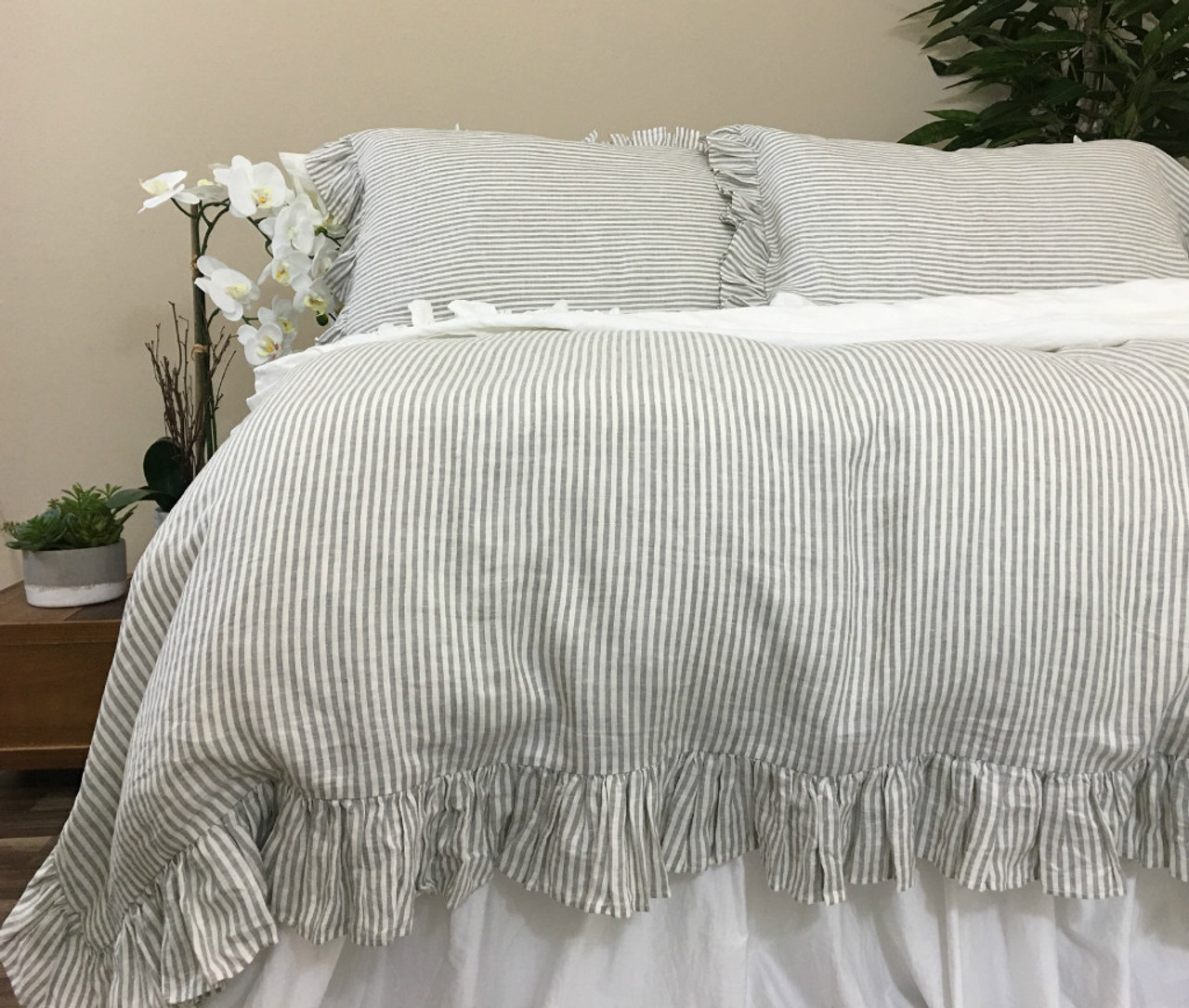 Grey and white pinstripe ruffle duvet cover weaved stripes on both sides elegant classic