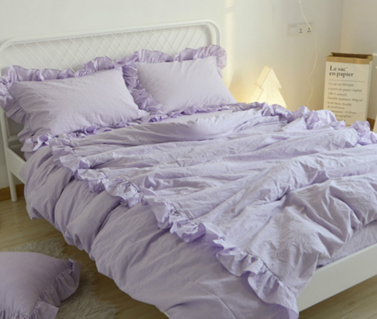 Lavender purple duvet cover with 2 rows of ruffles 100 washed linen fabric soooooo pretty