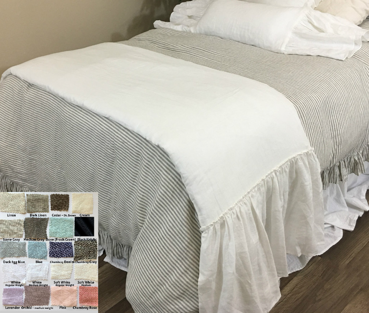 Linen Long Ruffle Bed Scarf, Bed Runner, Multiple Colors, adorable!
