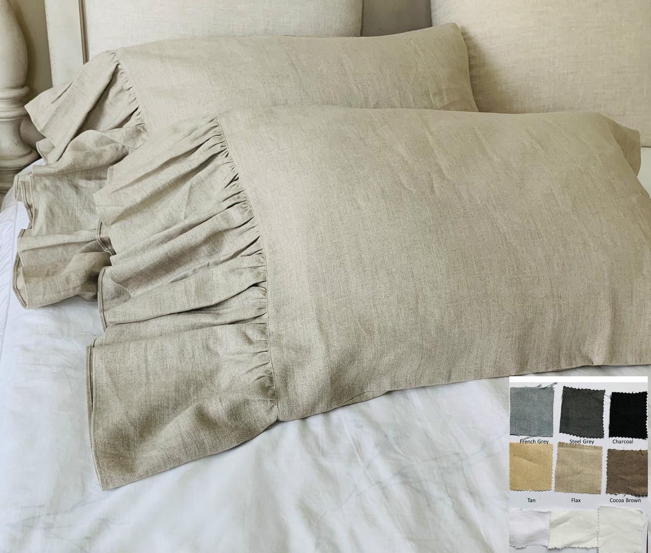 Long Ruffle Linen Pillowcase 100/% Pure Linen Ruffled Pillow Sham Cover