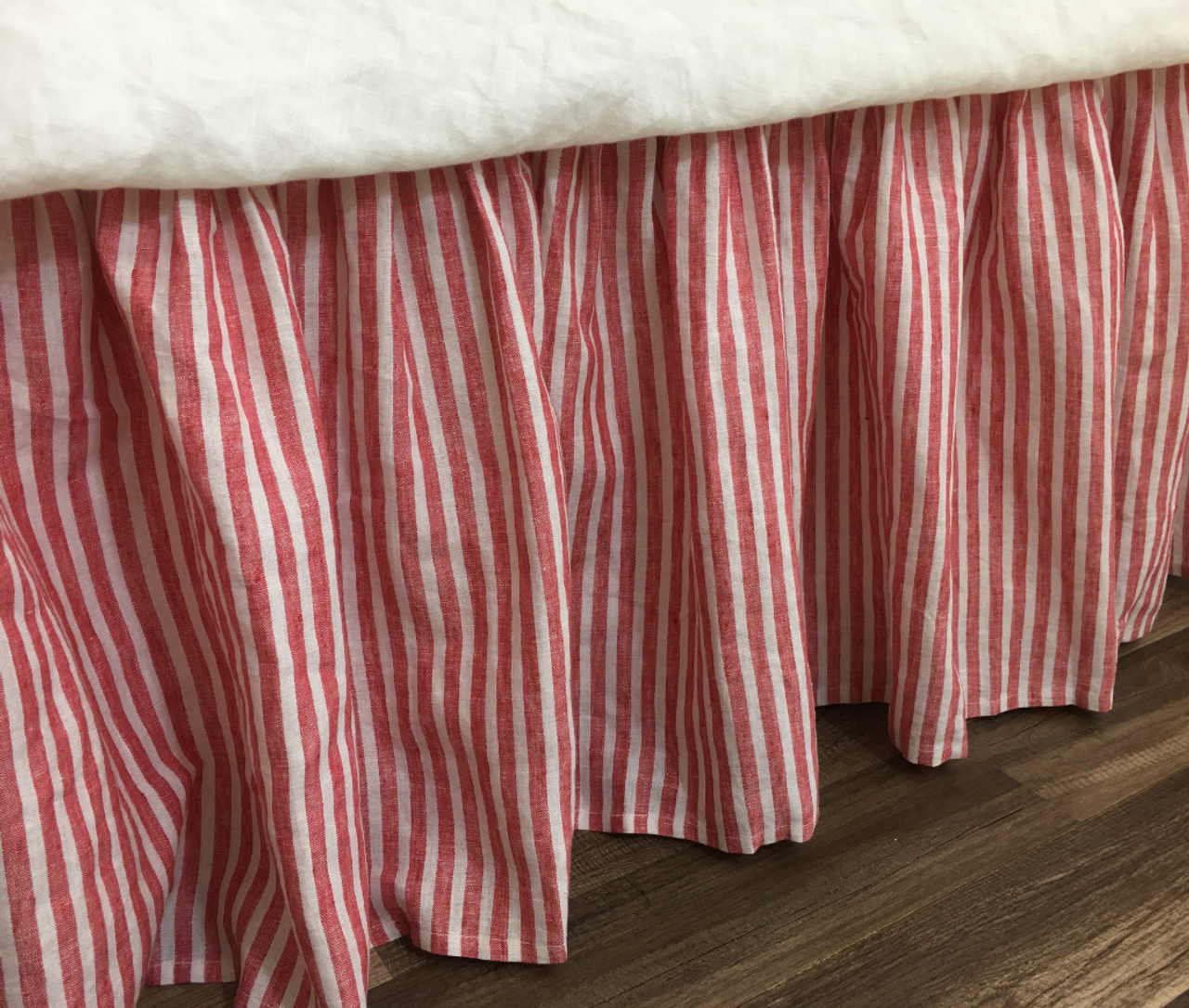 Red And White Striped Bed Skirt Natural Linen Farmhouse Beauty