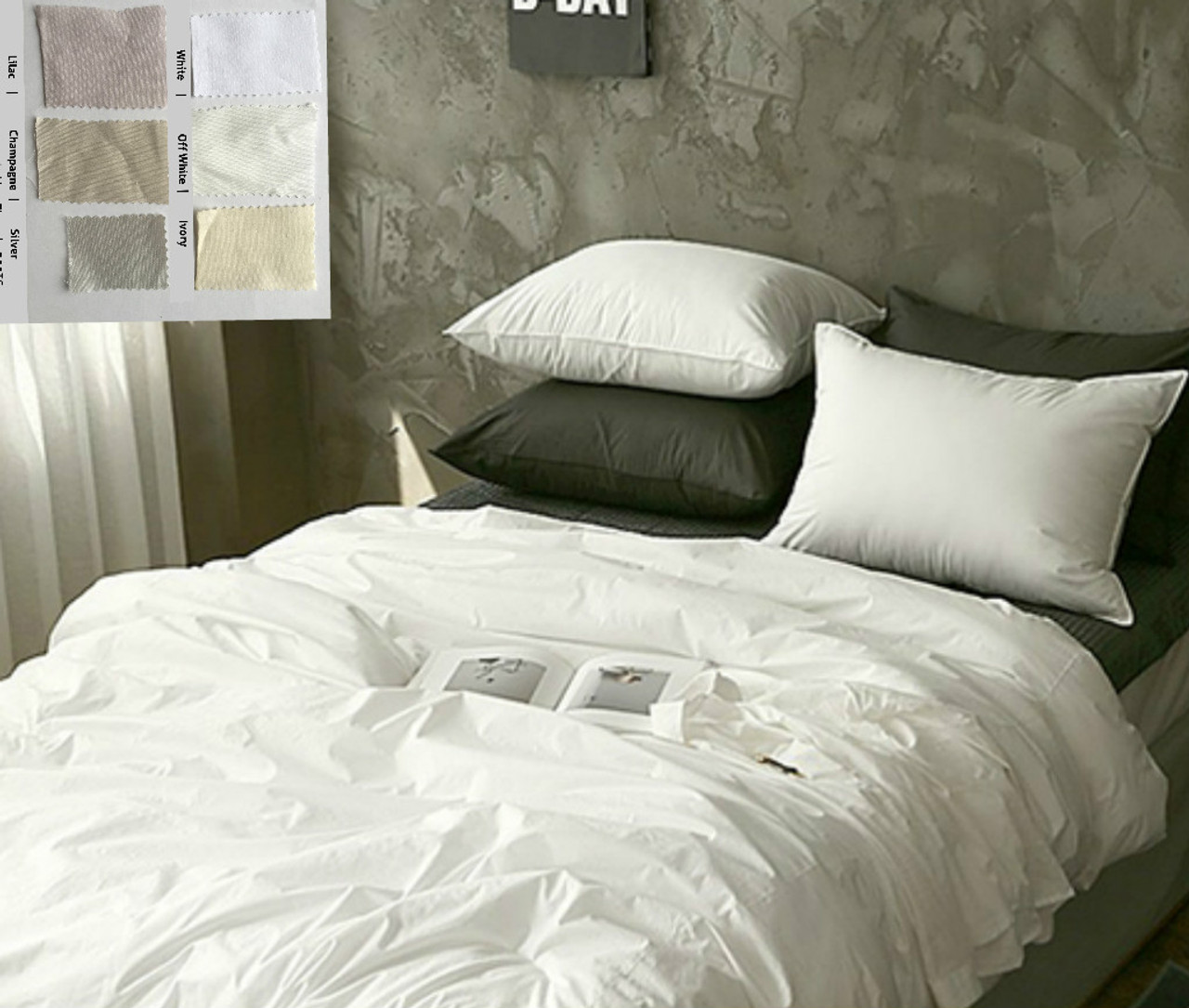 Pima Cotton Duvet Cover Available In White Off White Ivory Lilac