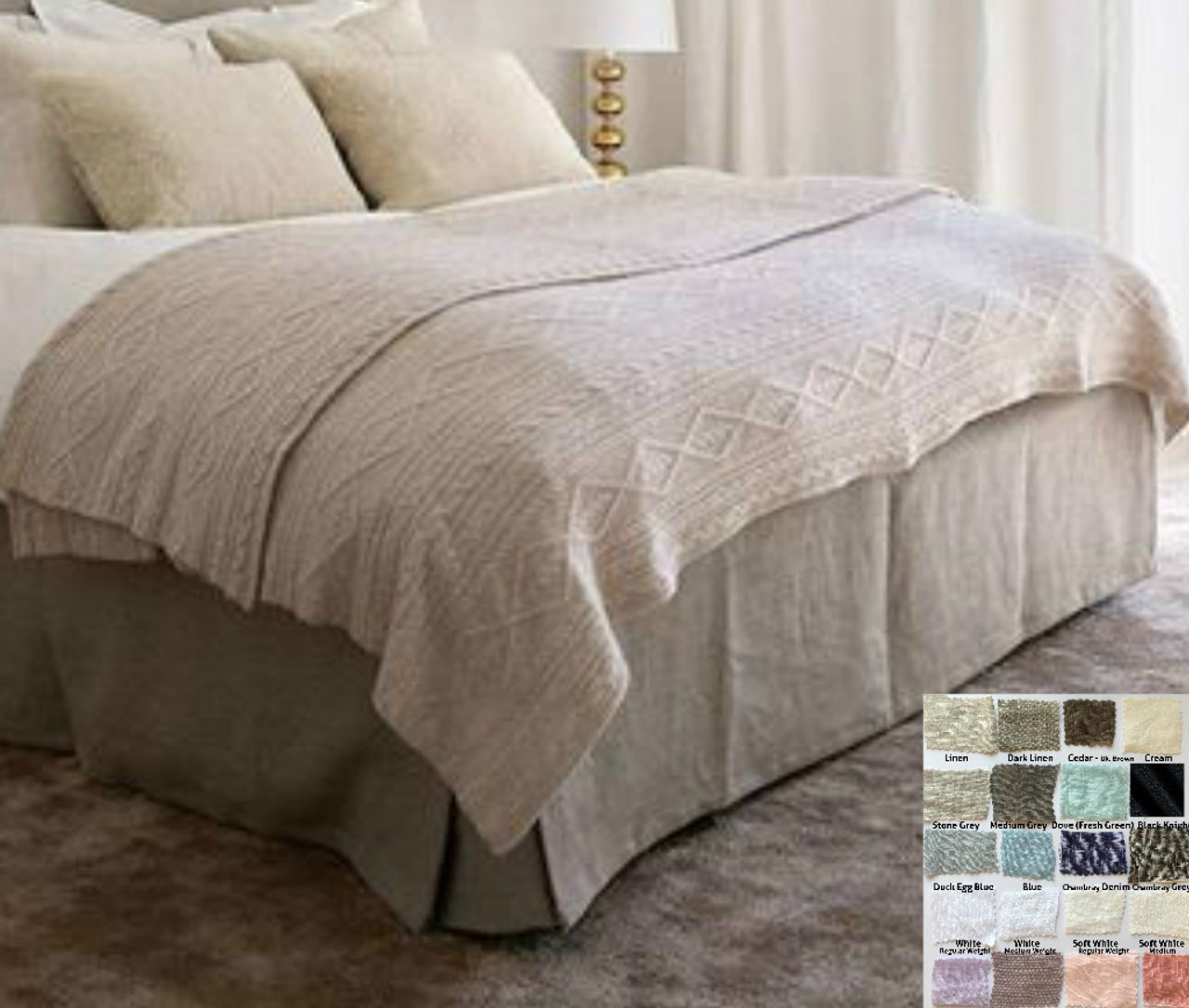 Picture of: Boxed Linen Bed Skirt Minimalist Classy 15 24 Drop Natural Linen White Grey Cream Pink Blue Stripe Chevron 40 Colors Custom Size Queen King Calif King Twin