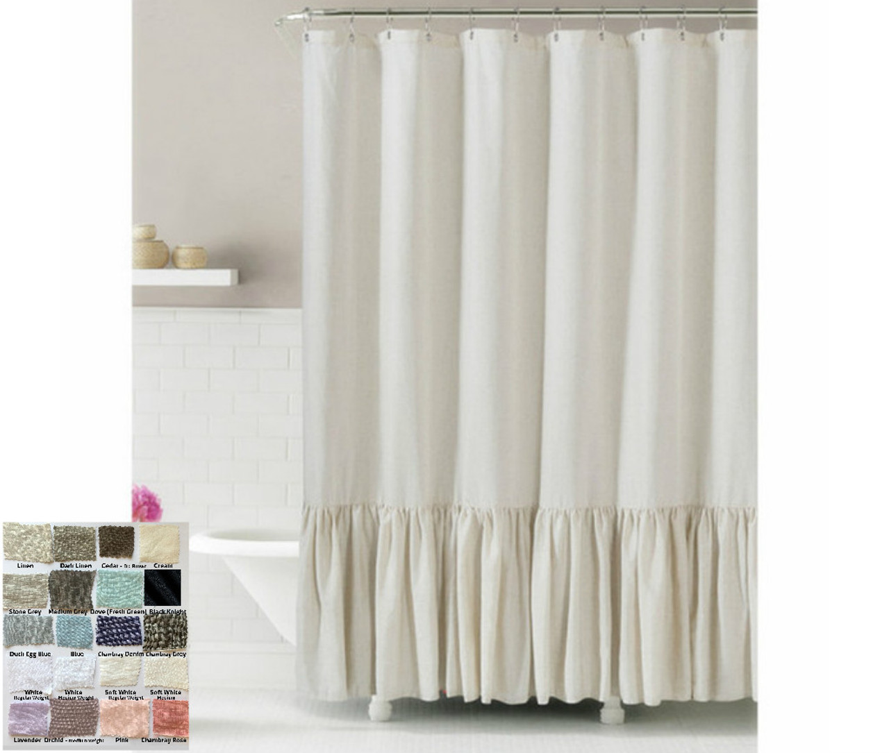 Linen Shower Curtain With Mermaid Long Ruffles Pick Color