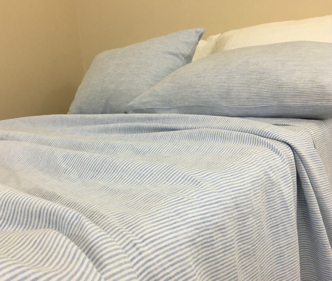 Blue And White Ticking Striped Bed Sheets Set Crafted From Butter
