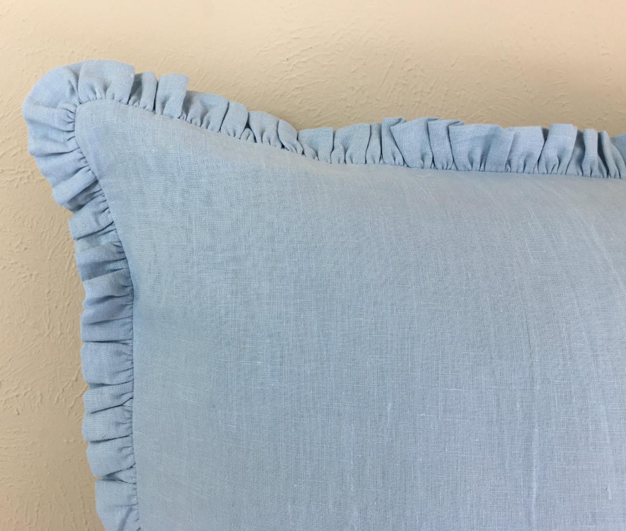 Blue Linen Euro Sham Cover With Petite Ruffles