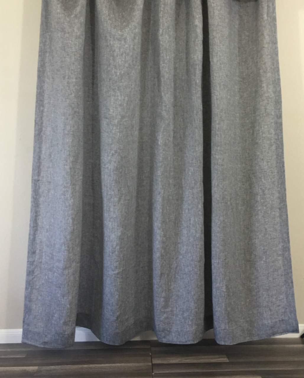 Chambray Grey Linen Shower Curtain