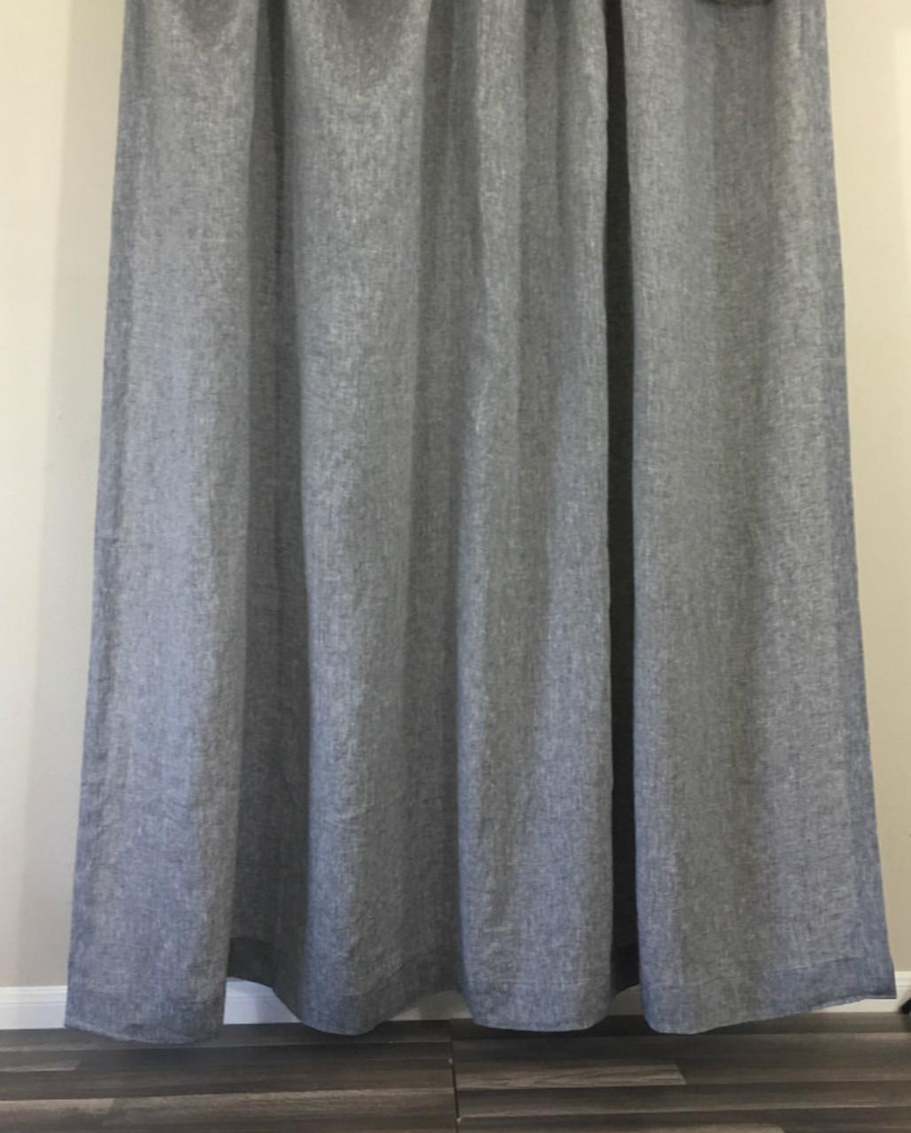 Chambray Grey Linen Shower Curtain