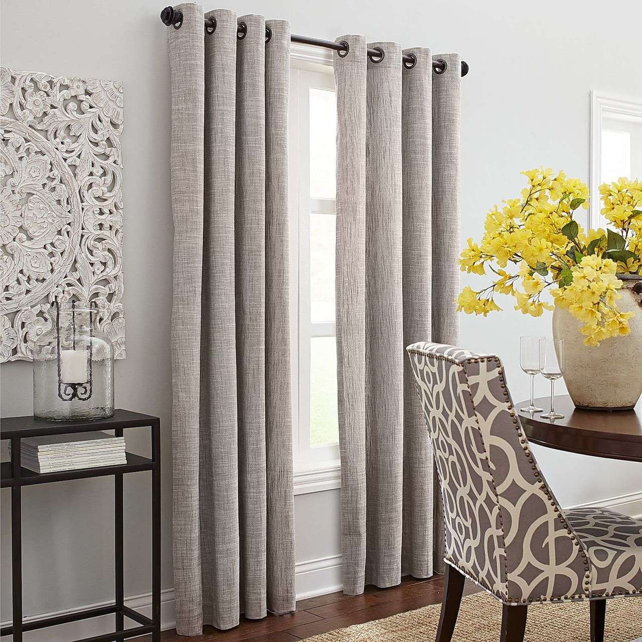 Chambray Rustic Raspberry Linen Curtain