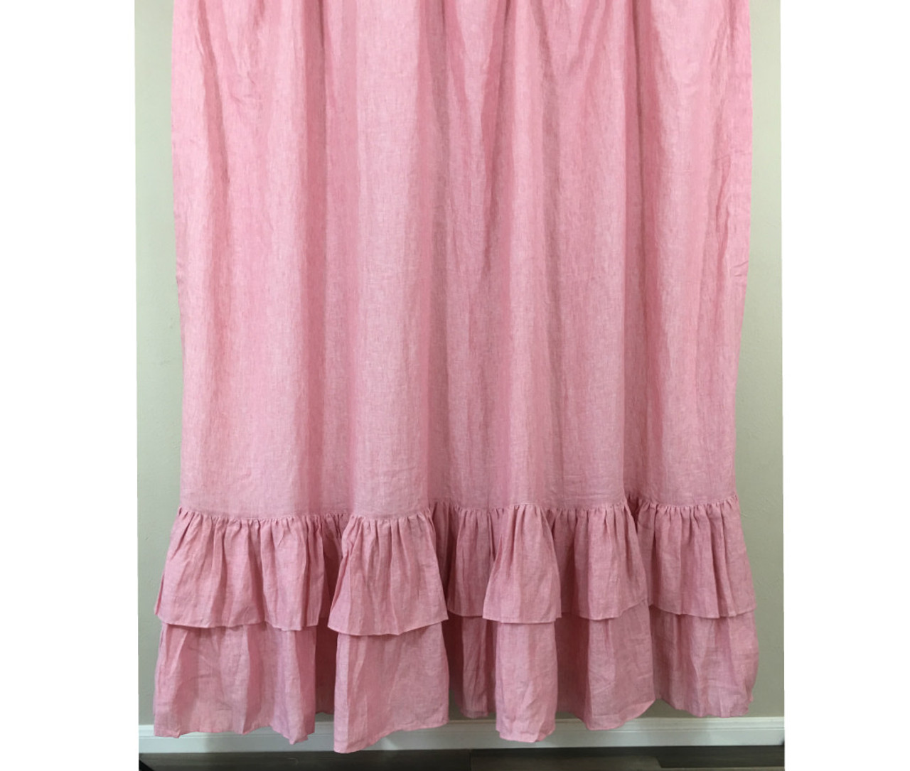 Chambray Rose Shower Curtain With Two Tiered Ruffles Natural Linen