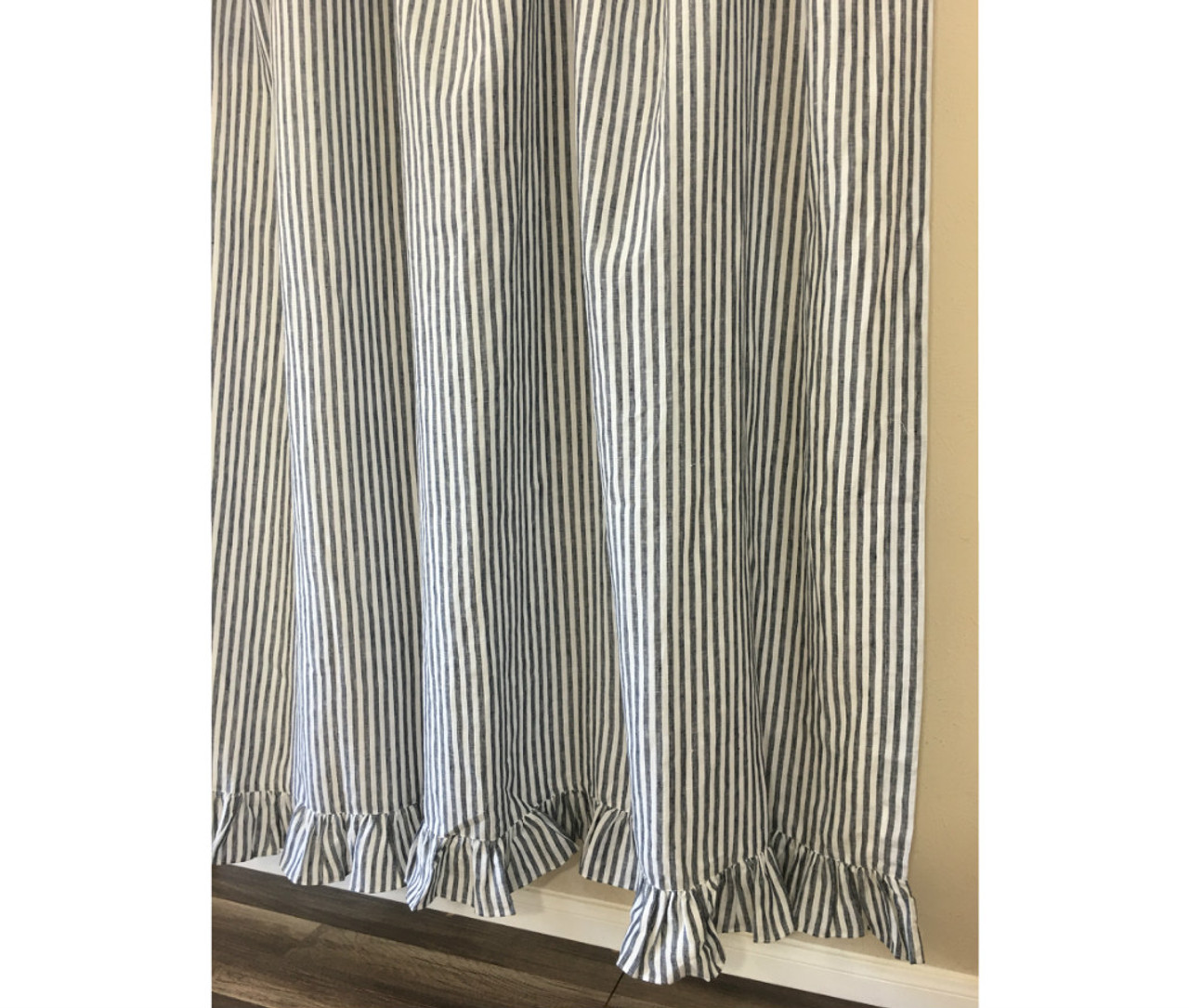 Dark Navy And White Striped Shower Curtain With Ruffle Hem Mildew Free 72x72 72x85 72x94 Custom Curtains Bathroom Curtain Bathroom Decor