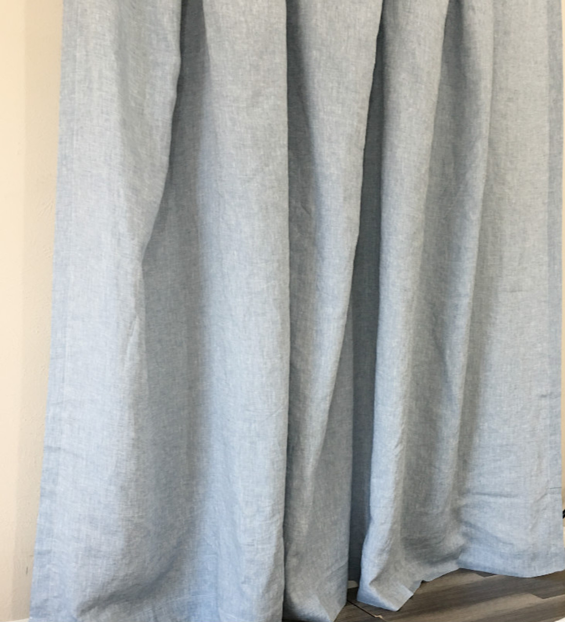 Chambray Surf Blue Linen Curtains 72x72 72x85 Custom Size Mildew Free
