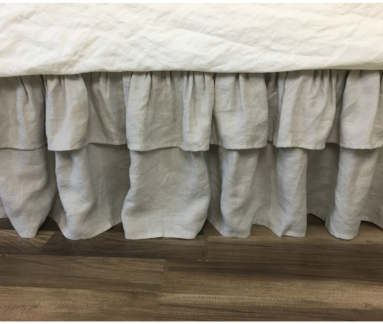 Stone Grey Bed Skirt With 2 Tiered Ruffles Natural Linen Dust Ruffle