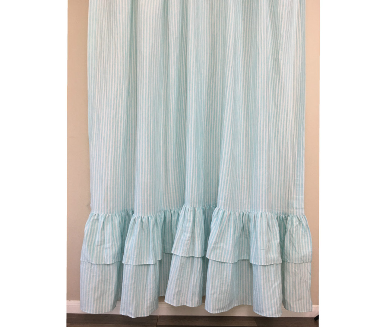 Green And White Striped Shower Curtain With Two Tiered Ruffles Linen Striped Shower Curtain