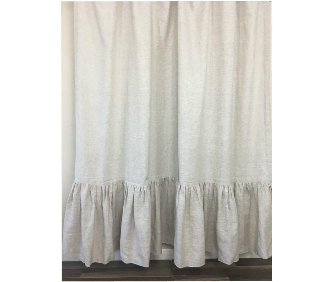 Natural Linen Shower Curtain With Mermaid Long Ruffles Medium Weight Fabric