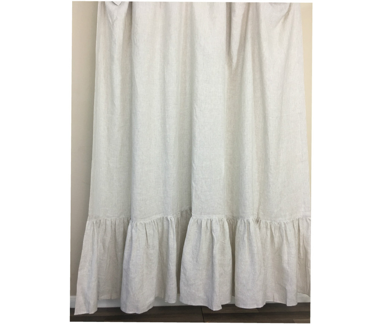 Linen Ticking Striped Shower Curtain With Mermaid Long Ruffles