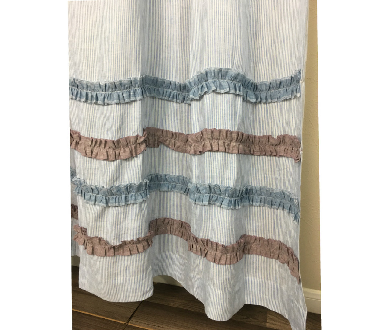 Blue And White Ticking Stripe Shower Curtain With Chambray Surf Raspberry Ruffle Rows 3 949471517249267c2imbypasson