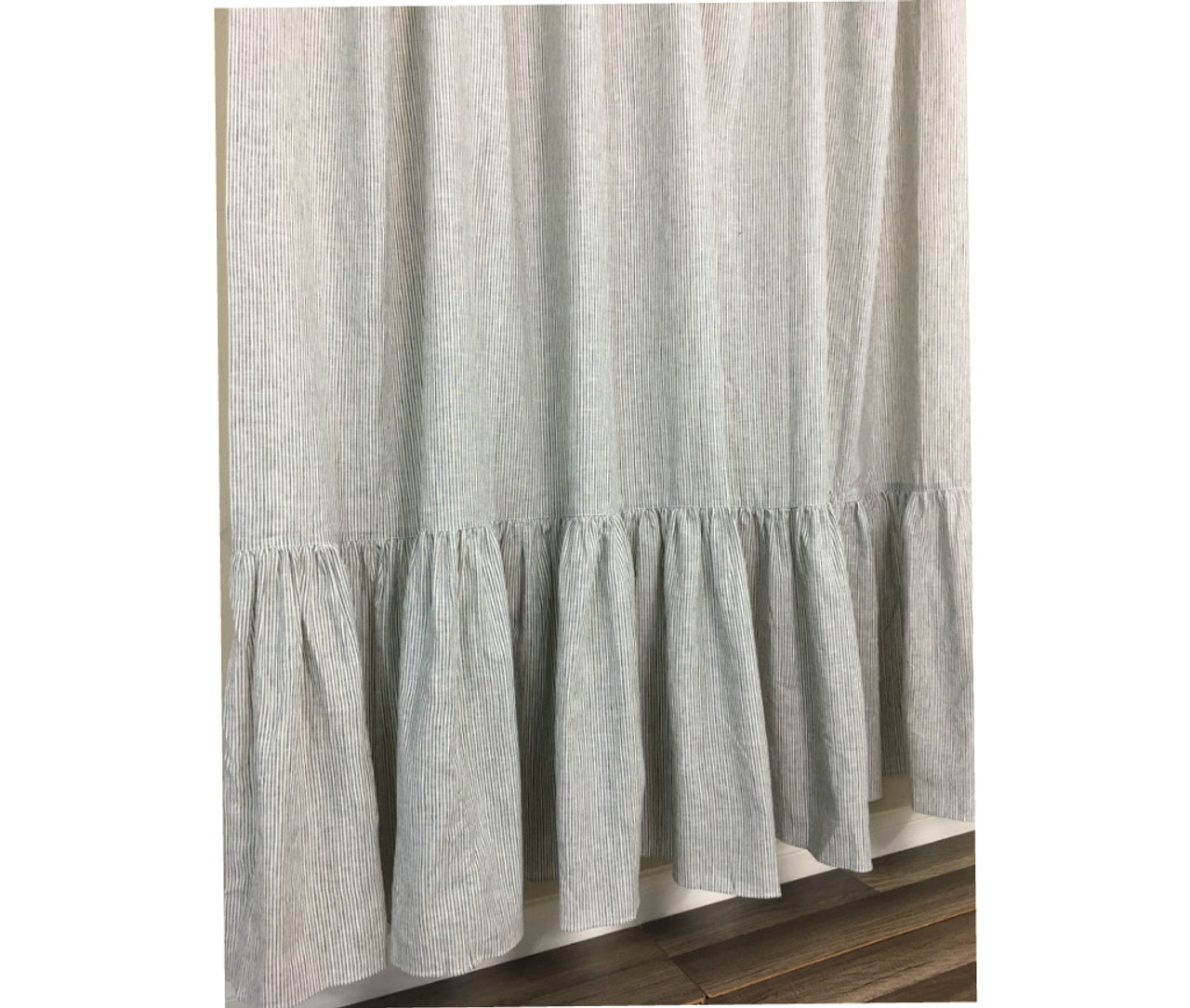 Black And White Ticking Striped Shower Curtain With Mermaid Long Ruffles 2 794301517249699c2imbypasson