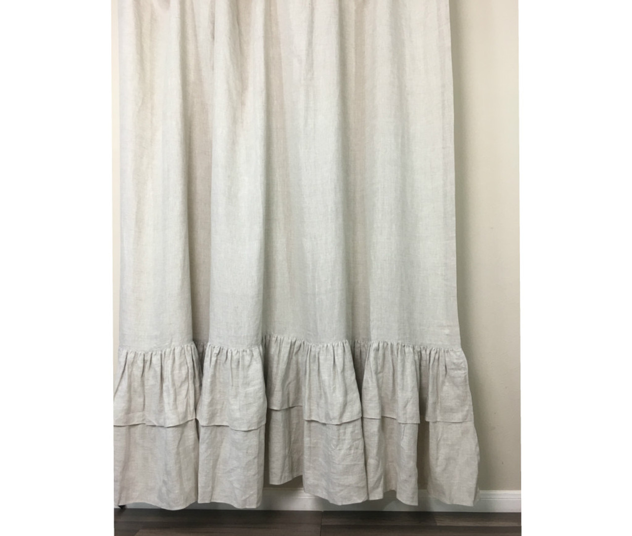 Natural Linen Shower Curtains With Two Tiered Mermaid Long Ruffles Medium Weight Linen
