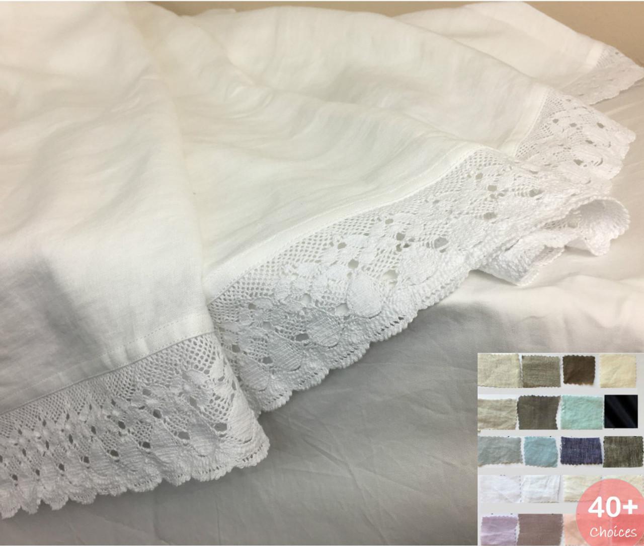 Natural Linen Bed Sheet With Crochet Lace Trim 40 Linen Fabric