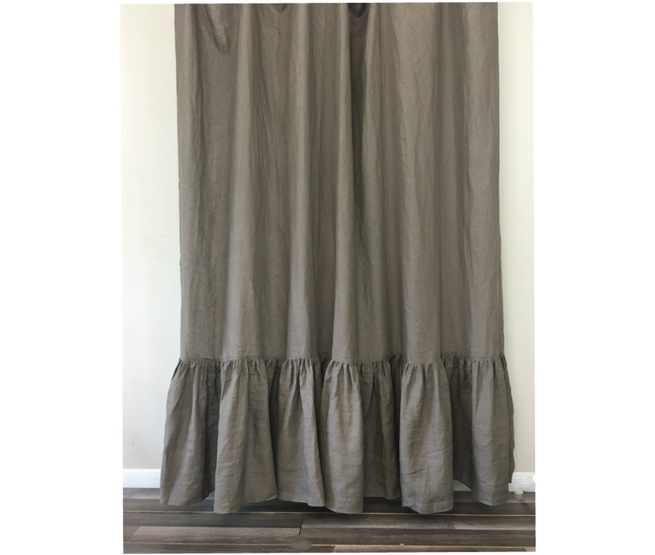 Cedar Dark Brown Linen Shower Curtain With Mermaid Long Ruffles