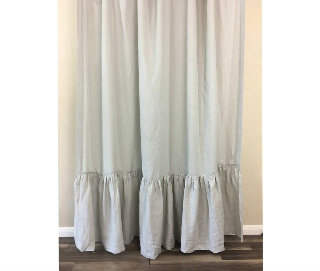 Stone Grey Linen Shower Curtain With Mermaid Long Ruffles 760981523479952c2imbypasson