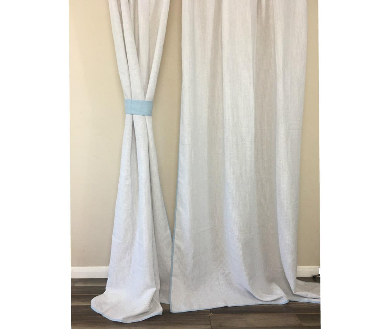 Light Grey Ticking Striped Curtain With Blue Trim