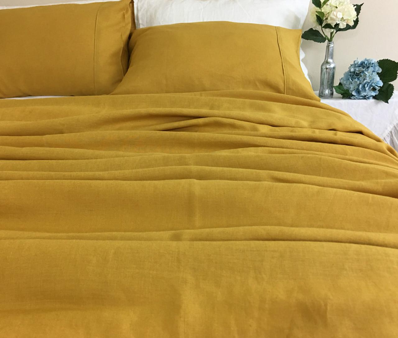 Mustard Linen Bed Sheets Set