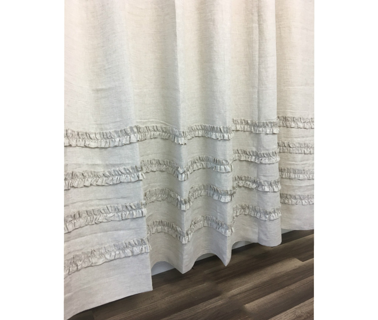 Natural Linen Shower Curtain With 4 Rows Of Ruffles