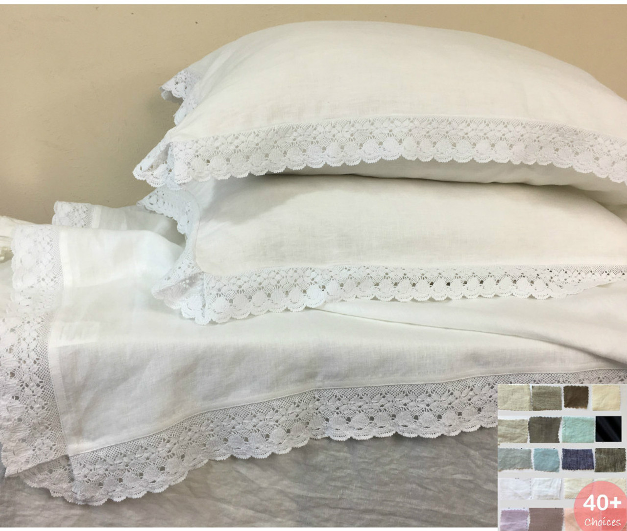 Ruffle Euro Sham Cover With Crochet Lace All Sizes