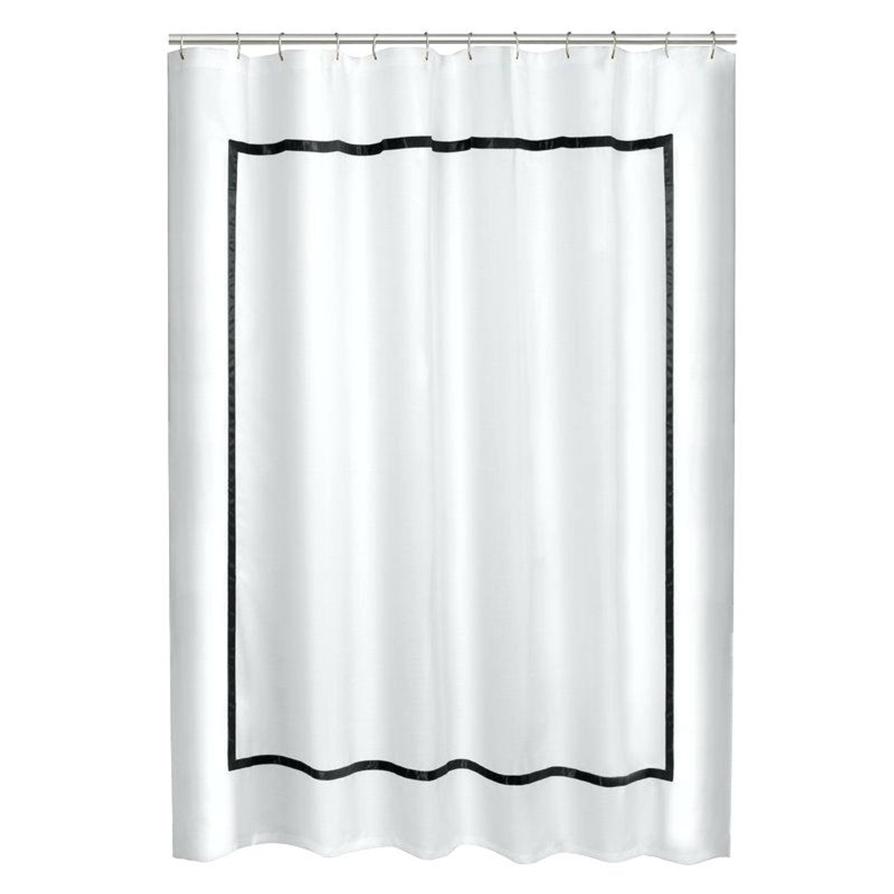 White Linen Shower Curtain With Border Trim Hotel Border Shower Curtain