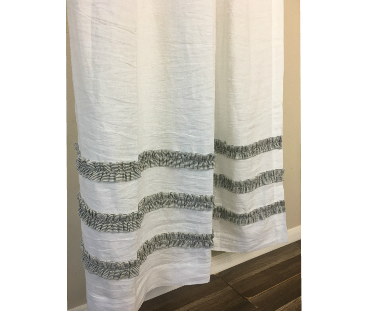 White Linen Shower Curtain With Black And Ticking Striped Ruffles 3 Rows Of