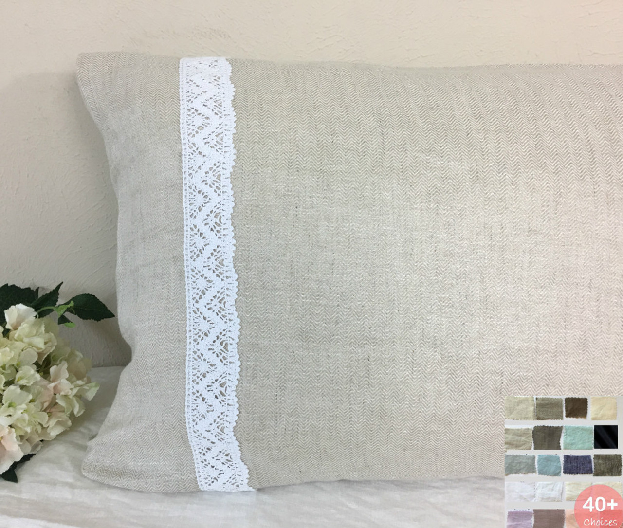 Linen Pillow Sham Cover With Crochet Lace White Grey Cream Pink Blue Stripe Chevron 40 Colors Custom Size 16x16 18x18 20x20 24x24 26x26 30x30 28x28